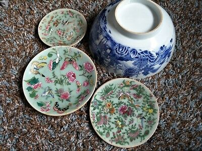 18-19th century antique Chinese porcelain plates and big bowl #832801