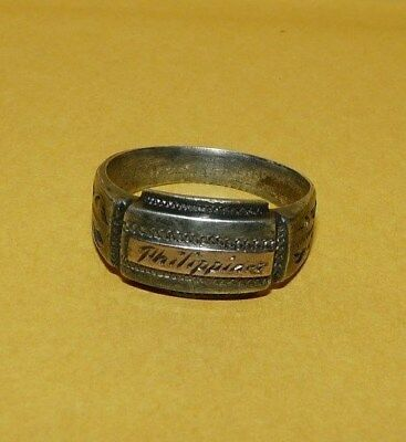 """~VINTAGE~MEN'S~WWII~STERLING~SILVER~""""PHILLIPINES""""~RING~SIZE 10~TRENCH ART~1940s~"""