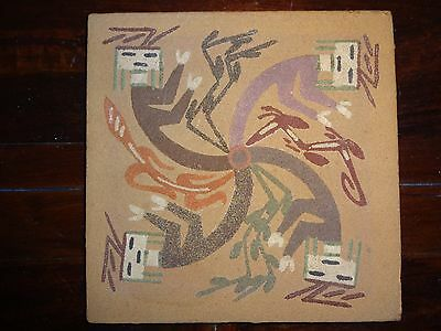 """Whirling Rainbow Sandpainting By Yazzie 6"""" x 6"""""""