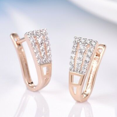 Stylish Women Bridal Jewelry Sapphire Crystal Gold Platinum Filled Hoop Earrings