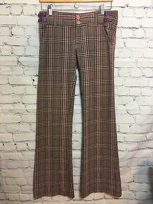 "Hollister Sz 3 Groovy Stretch Plaid Purple Bell Bottom Pants 32"" Groovy"
