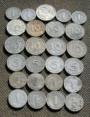 Big Lot Of Old Nazi Germany Coins From World War Ii With Swastika - Mix 783