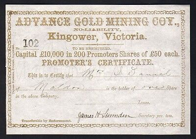 Share Scrip - Gold Mining. c mid 1800s. Advance Gold Mining Co - Kingower Vic.