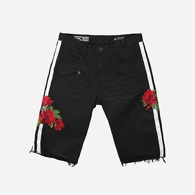Men/'s Fashion Denim Short With Patches Rose by Smoke Rise