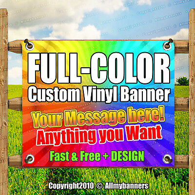 2' x 4' Custom Vinyl Banner 13oz Full Color - Free Design Included Strong -pxp