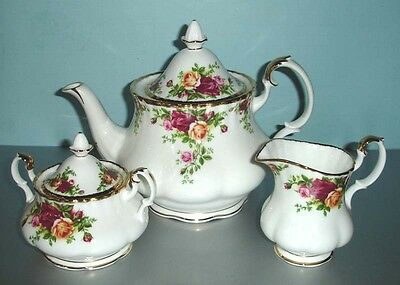 Royal Albert OLD COUNTRY ROSES Teapot-Sugar-Creamer 3 PC. Tea Completer Set New