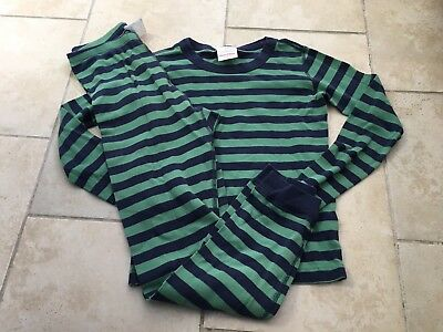 Hanna Andersson Blue/green Striped Organic Pajama Bottoms Size 150 (12)