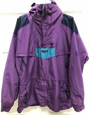 Vintage Columbia Anorak Pullover Zipper Mens Jacket Large Purple 90s Rare !