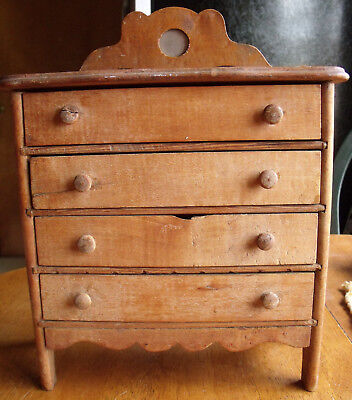 Antique Childs 4 Drawer High Boy with Mirror Toy Dresser Early 1900's