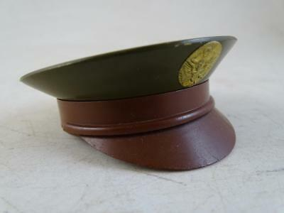 Vintage WWII Era Military Army Cap Hat Pocket Mirror Make Up Compact Figural Old