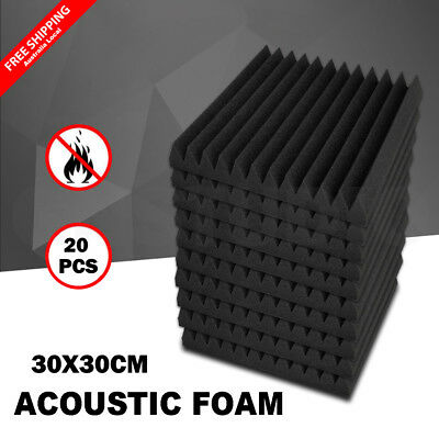20PCS Studio Acoustic Foam Sound Absorbtion Proofing Panel Wedge Tiles 30X30CM
