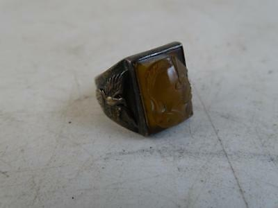 Vintage WWII Sterling Silver Carved Cameo Victory Men's Ring Dragon Souvenir Old