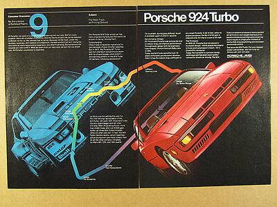 1981 Porsche 924 Turbo & Carrera race car Le Mans course art vintage print Ad