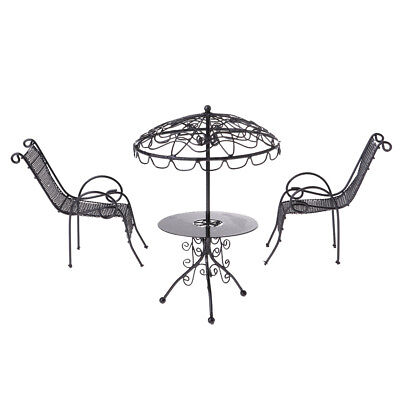 1/12 Doll House Miniature Outdoor Garden Furniture Metal Table Chairs Black