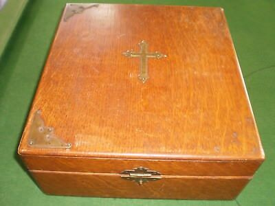 Silver coated religious altar cross candle holder crucifix in wooden box