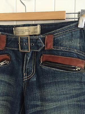 Vintage Low Waisted Leather Details Jeans Size 28 **Made In Korea, Hardly Worn**