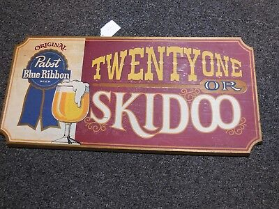 VINTAGE RARE 60-70's Pabst Blue Ribbon Beer Wood Bar Sign TWENTYONE   OR  SKIDOO