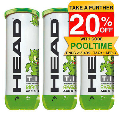 Head TIP 9 Tennis Balls/Ball Can Game/Play/Sports/Training Kids/Children 9-10yr
