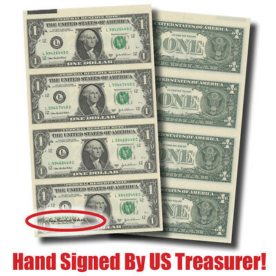 Choice Crisp 4-Note Sheet of $1 Bills -- Hand-Signed by US Treasurer Ana Cabral