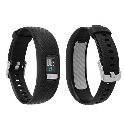 Skinomi Silver Carbon Fiber Skin+Watch Screen Protector for Garmin Vivofit 4