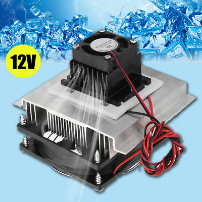 12V 6A Thermoelectric Peltier Refrigeration Cooling System Kit Cooler Fan DIY W/