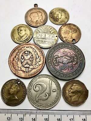 x10 Mixed Tokens, Medals & Coins from the 1800s onwards inc 1942 3d Error (A717)