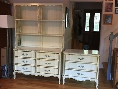 Vintage French Provincial Dixie Dresser with Hutch & Smaller Matching Chest 1965
