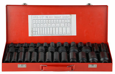 "35pcs 1/2"" Drive Deep Impact Socket Tool Set Metric Garage Workshop Tools 8-32MM"