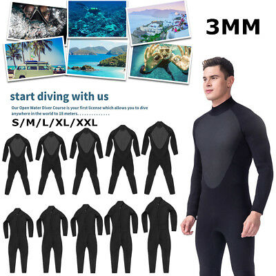 Neoprene Men 3mm Wetsuit  Full Body Surfing Diving Swimming Suit Super stretch