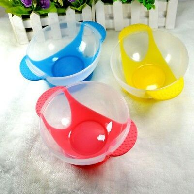3Pcs Newborn Baby Kids Highchair Wall Feeding Suction Cup Child Bowls Lid Spoons