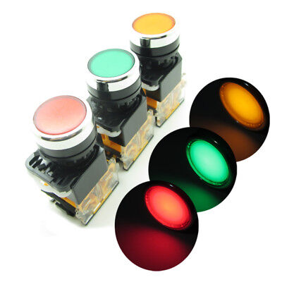 Round Red Green Yellow Push Button Switch 22mm With LED Light NO NC 380V 10A