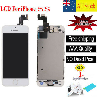 For iPhone 5S white LCD Screen Touch Digitizer Full Assembly replacement