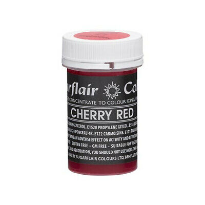 Sugarflair CHERRY RED Pastel Paste Gel Edible Concentrated Food Icing Colouring