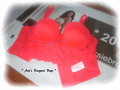 Cotton On Body-Ladies Size 14B-Lace Covered-Longline-Body-Push Up-Bra-Hot Pink