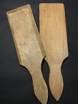 Pair of Vintage WOODEN BUTTER PADDLES Set of 2 Wood Pats, Rustic Kitchenalia