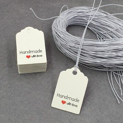 Mini White Handmade With Love Retail Gift Tags With String- Crafts Sticker Sales