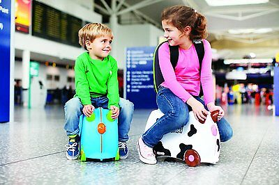 Suitcase Boys Travel Wheels Funny Blue and Pink Walking with Wheels Trunki