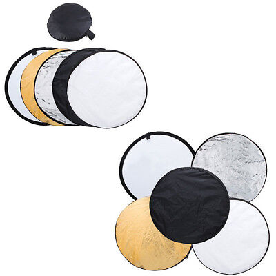 5-in-1 Folding Round Reflector Light Diffuser + Carrying Bag Case Photo Studio