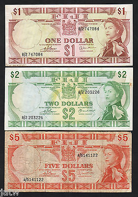 FIJI P-71b,72b,73c. (1974) Issue : $1 EF, $2 aEF & $5 VG-F.  3 Notes