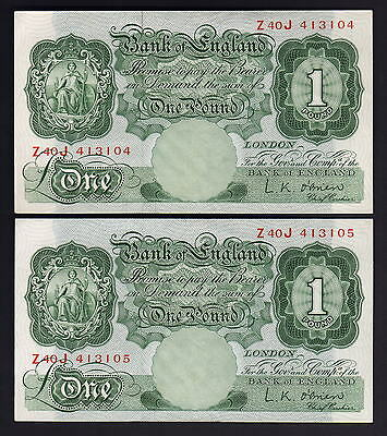 GREAT BRITAIN P-369c. (1955-60) One Pound - O'brien.. aU-UNC - CONSECUTIVE Pair