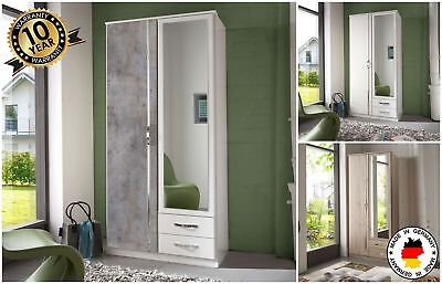 Duo 2 Door Mirrored Wardrobe With Drawers German Bedroom Furniture Shelves 90cm