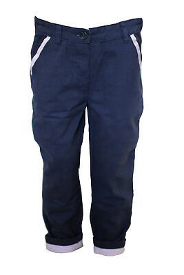 High End Ex High Street Navy Blue Chino Trousers for Girl's Boy's Unisex