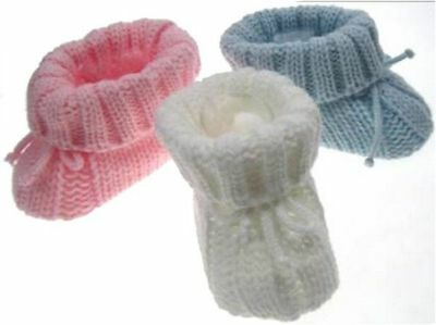 Soft touch knitted baby booties