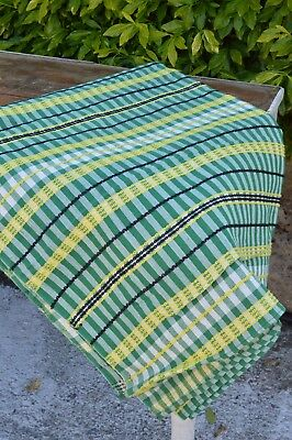 Retro 1960s Vintage Green Yellow Striped Table Cloth Cover Curtain Fabric Large
