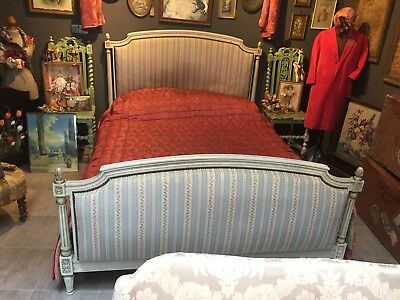 Fabulous Vintage French King Size Wooden Satin Upholstered Bed