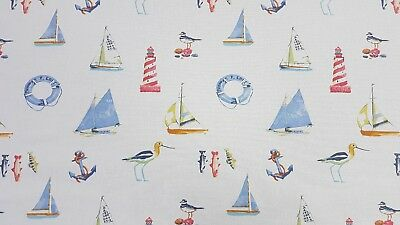 Salcombe Boats   linen//Blue 140cm wide  Cotton Curtain//Craft Fabric