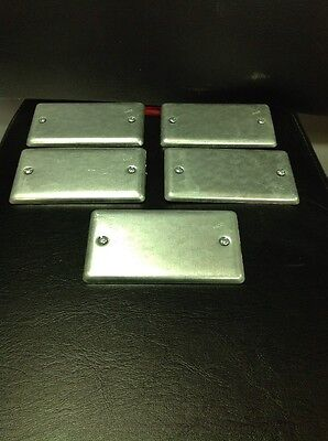 "5 Pack OF RACO STEEL BLANK UTILITY BOX COVERS - 2-1/4"" X 4-1/4"""