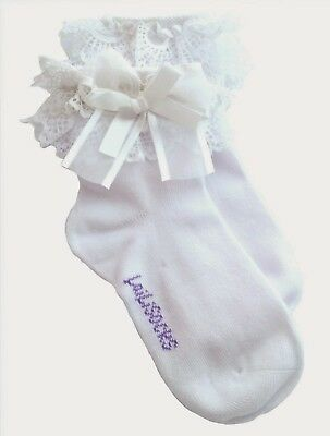 Discounted Flawed Quality Cotton Kids Girls White Frilly School Socks (4 pairs)