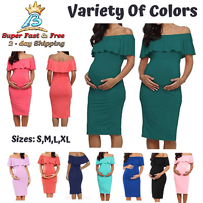 Maternity Dress Photography Knee Length Bodycon Off Shoulder Sleeveless Casual