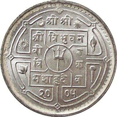 Mint Nepal 50-Paisa Silver Coin 1948 Ad King Tribhuvan Km# 718 Uncirculated Unc